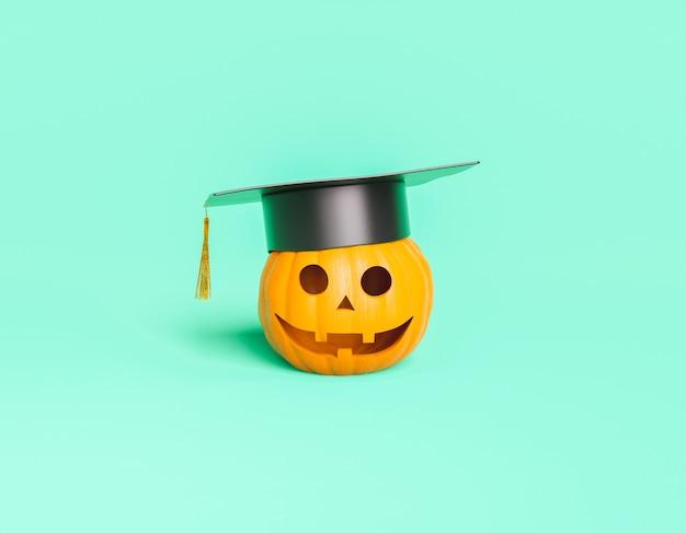 Тыква на хэллоуин в выпускной шляпе