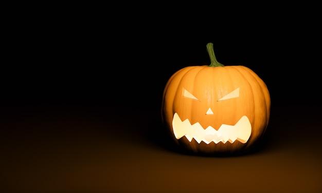 Тыква хэллоуина с освещенным страшным лицом на темном фоне и пространством для текста. 3d рендеринг