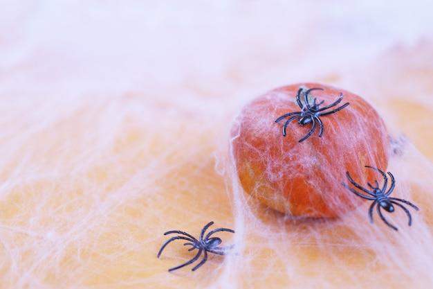 주황색 배경에 거미줄과 검은 거미가 있는 할로윈 호박