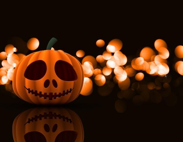 Il rendering 3d di una zucca spettrale di halloween su uno sfondo luci bokeh
