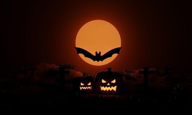 Хэллоуинские тыквы и летучие мыши в лунном свете в жуткую ночь. вечеринка jack o lantern. 3d рендеринг
