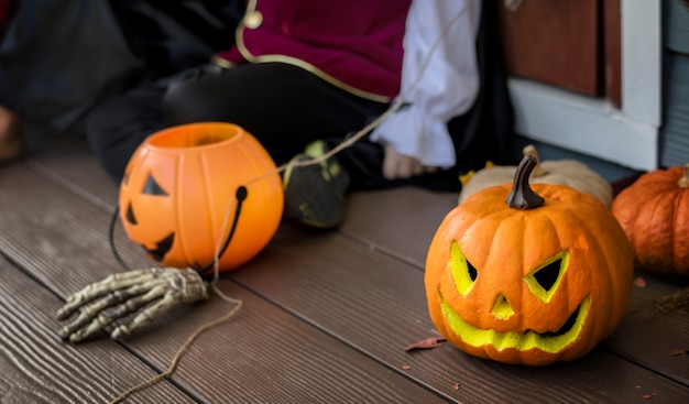 Halloween pumpkins and decorations outdoors