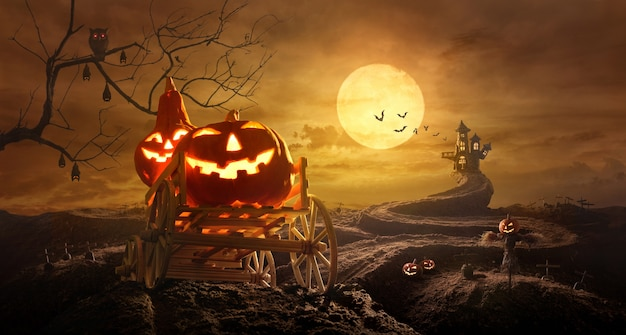 Halloween pumpkins on farm wagon going through stretched road grave to castle in night of