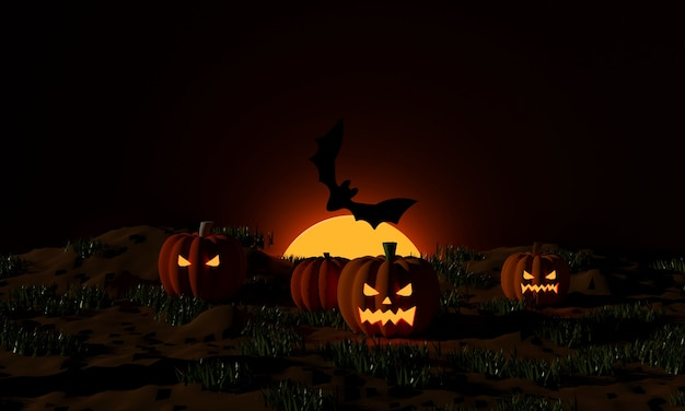 Halloween pumpkins and flying bats at moonlight in the spooky night. jack o lantern party. 3d rendering
