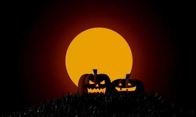 Halloween pumpkins at moonlight spooky night. trick or treat party. 3d rendering