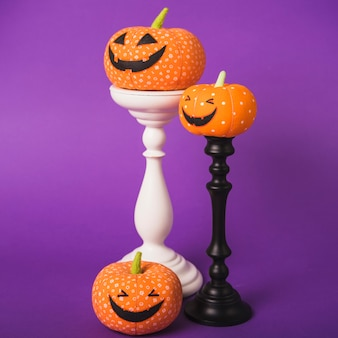 Halloween pumpkins on plaster mounts