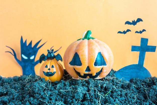 Halloween pumpkins on soil, halloween day