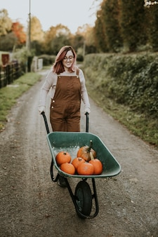 Zucche di halloween in un umore autunnale scuro da carriola