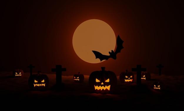 Хэллоуинские тыквы с кладбищем и летучей мышью в лунную жуткую ночь. 3d рендеринг