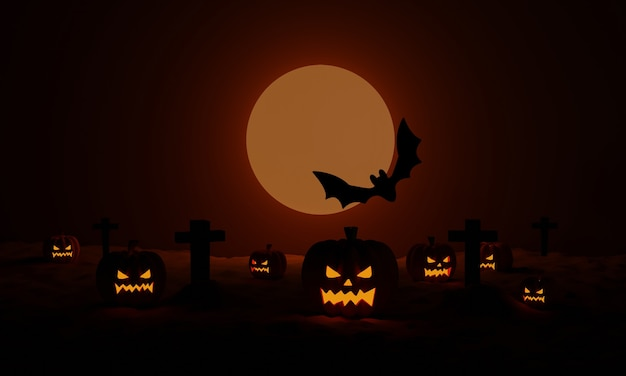 Halloween pumpkins with a cemetery and flying bat at moonlight spooky night. 3d rendering