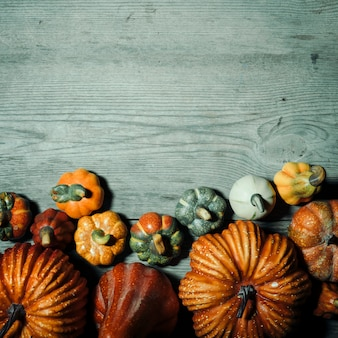 Halloween pumpkins with copy space over wooden background