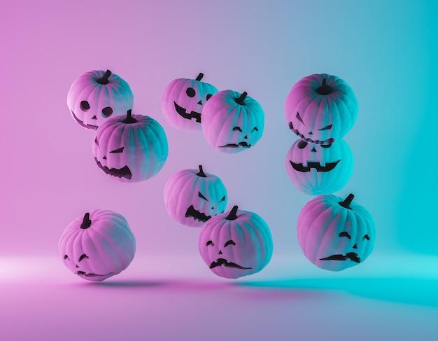 Хэллоуин тыквы с градиентным неоновым освещением