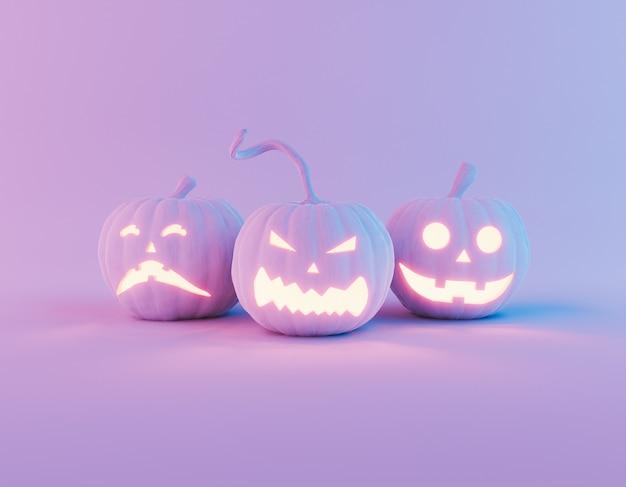 Тыквы на хэллоуин с неоновым светом