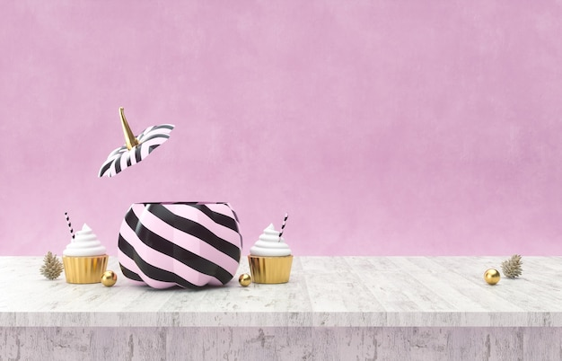 Halloween pumpkins on wooden table halloween background 3d rendering