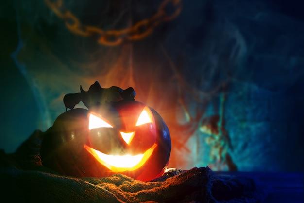 Halloween pumpkins on a wooden.