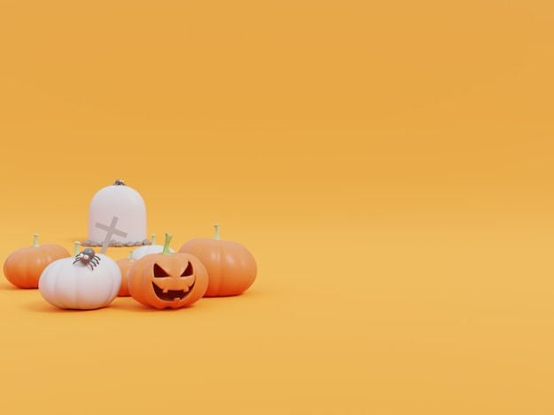 Halloween pumpkins on yellow  .