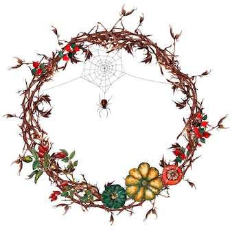 Halloween round wreath of dry gnarled branches