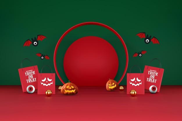Хэллоуин продажа баннеров. хэллоуин тыквы и хозяйственная сумка на оранжевом и красном фоне для поздравительной открытки, баннера, плаката, блога, статьи, социальных сетей, маркетинга. 3d иллюстрации