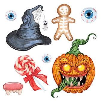 Halloween set witch hat demon pumpkin evil sweets and eyes isolated on white background