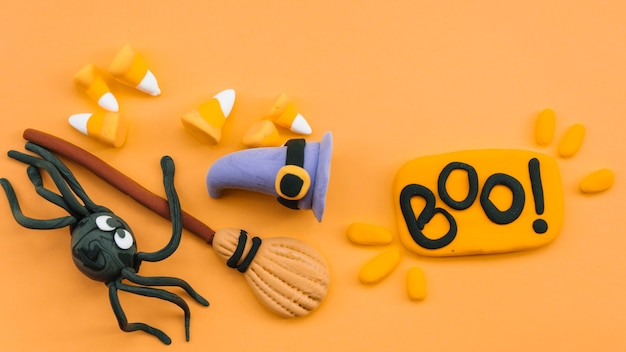 Halloween set with broom and spider