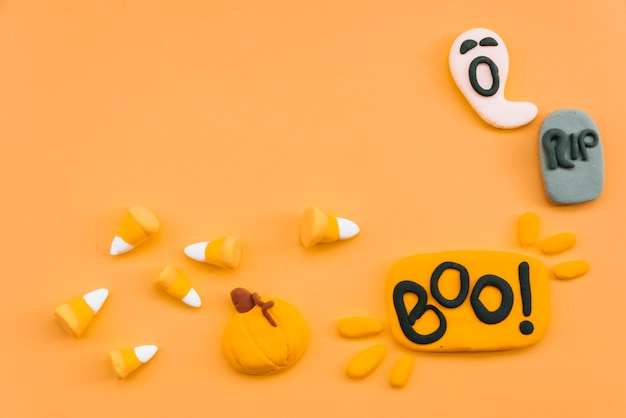 Halloween set with decorative ghost and pumpkin
