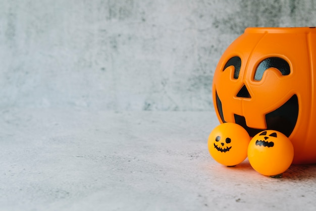 Halloween set with orange pumpkin basket