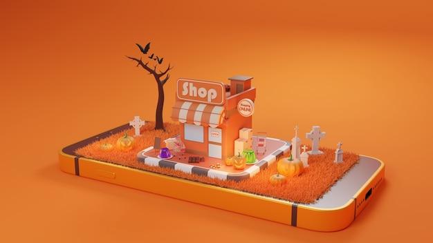 Хэллоуин покупки онлайн и служба доставки в мобильном приложении, транспорт или доставка еды на самокате, 3d рендеринг.