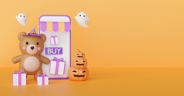 Halloween shopping online concept with cute bear and ghosts