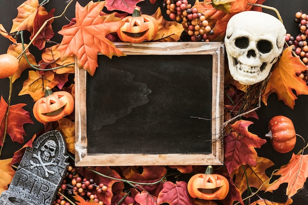 Halloween slate composition on autumn leaves with skull