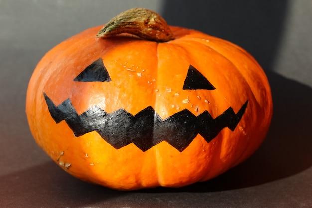 Halloween smile jack pumpkin  isolated on black background