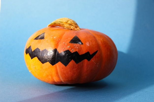 Halloween smile jack pumpkin  isolated on blue background