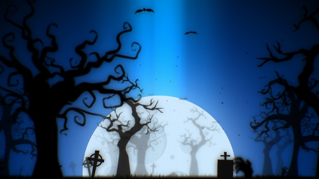 으스스한 나무 달 박쥐 좀비 손과 묘지가 있는 할로윈 으스스한 배경 파란색 테마