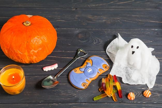 Halloween stuff on wooden desk