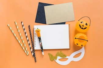 Halloween supplies around stationery