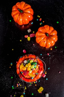 ハロウィーンのお菓子の背景