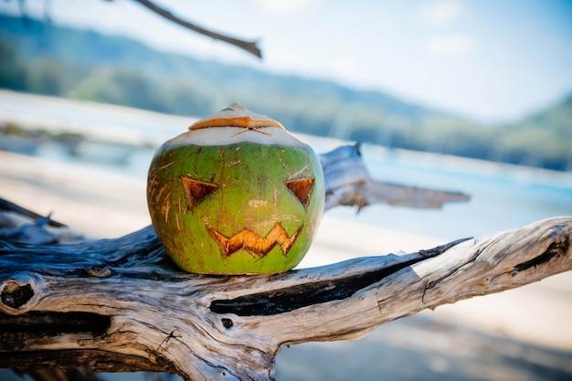 Символ хэллоуина, вырезанный из молодого зеленого кокоса страшное лицо, похожее на тыкву, стоит на ветках