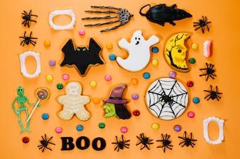 Halloween symbols on wooden table