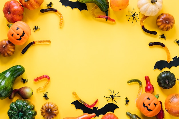 Halloween toys with vegetables and candies