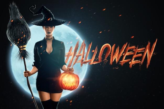 Девушка ведьмы хэллоуина с метлой в руках на фоне луны. красивая молодая женщина в шляпе ведьмы колдует. хеллоуин, копия пространства, смешанная техника.