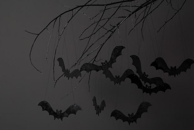 어두운 배경에 나뭇가지에 검은 박쥐의 실루엣과 할로윈