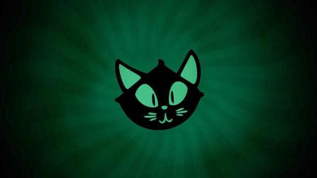 Хэллоуин с кошкой на зеленом фоне. с праздником абстрактный фон. роскошный и элегантный стиль 3d иллюстрации для праздничного шаблона