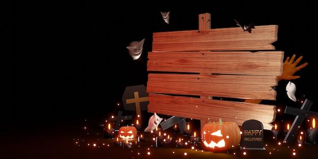 Хэллоуин деревянный знак фон тыквы дьяволы летучие мыши и духи 3d иллюстрации