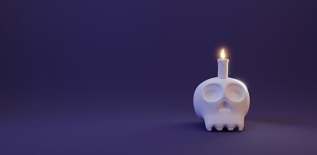 할로윈 데이 개념 촛불 빛 3d 렌더링과 함께 귀여운 인간의 두개골