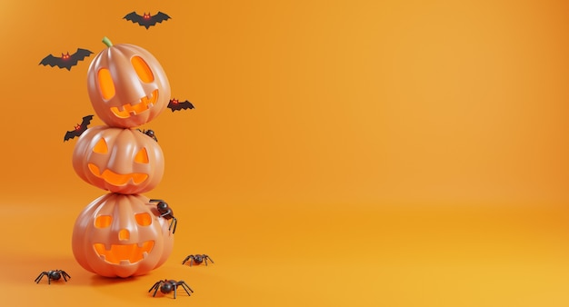 할로윈 데이 개념 귀여운 호박 유령 박쥐와 거미 3d 렌더링