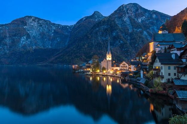 Hallstatt mountain village at night from classic postcard viewpoint austria
