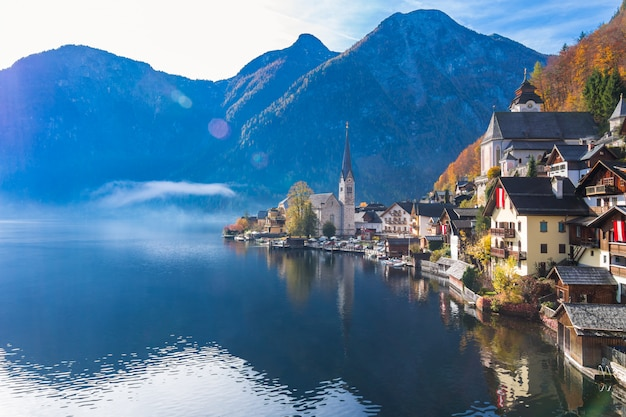 Hallstatt mountain village on a sunny day from classic postcard viewpoint austria