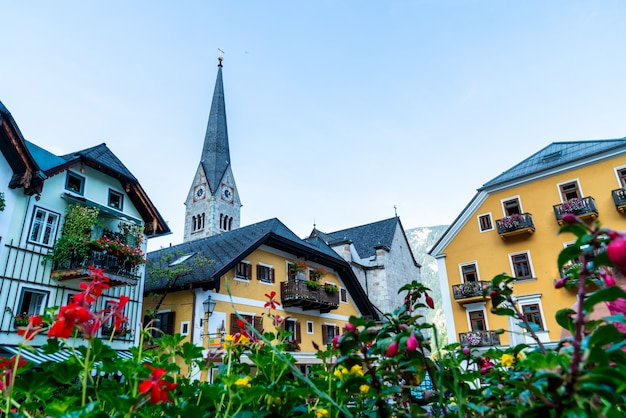 Hallstatt square in austria alps mountain