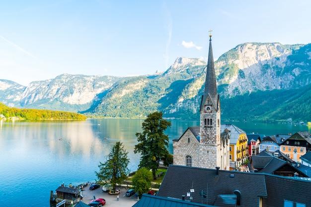 Hallstatt village on hallstatter lake in austrian alps
