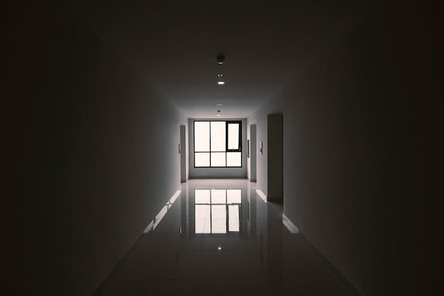 Hallway front elevator in low light. imagine the horrors in the building.