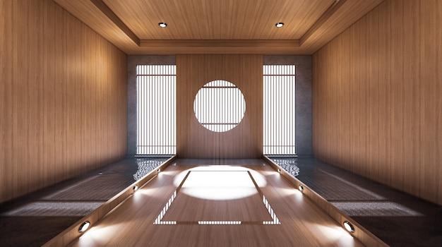 The hallway like japanese room has a side pool design room